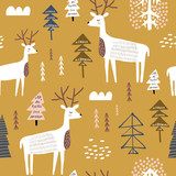 Childish seamless pattern with dears. Trendy scandinavian holiday vector background. Perfect for kids apparel,fabric, textile, nursery decoration,wrapping paper - 261494451