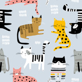 Seamless pattern with cute colorful Kittens. Creative childish texture. Great for fabric, textile Vector Illustration - 261495025