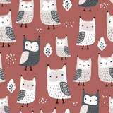 Seamless pattern with owls and leaves. Creative woodland childish texture in autumn colors. Great for fabric, textile Vector Illustration - 261495052