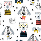 Seamless pattern with funny dogs, bear and hand drawn elements. Creative zoo childish texture. Great for fabric, textile Vector Illustration - 261495217