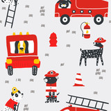 Childish seamless pattern with fire dogs . Trendy scandinavian vector background. Perfect for kids apparel,fabric, textile, nursery decoration,wrapping paper - 261495224