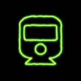 green neon symbol train