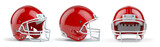 Set of red  american football helmets isolated on white background. - 261510008