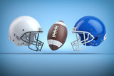 American football helmets and ball.Final match concept.Space for text. - 261510016