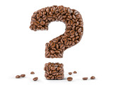 Question mark created from coffee beans isolated on white background. - 261510043