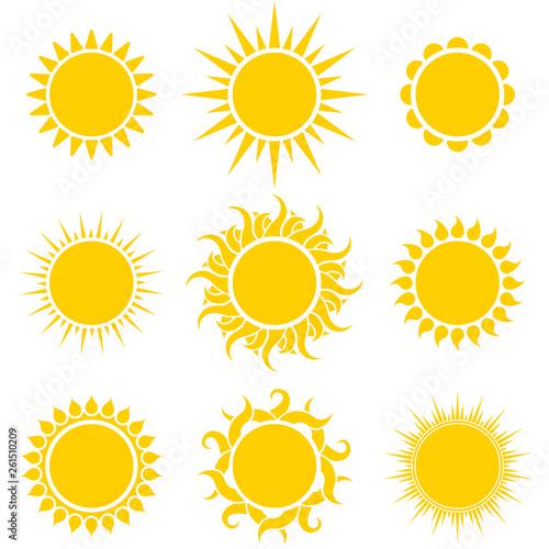 Abstract Yellow Sun Shapes Set - 261510209