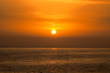 Beautiful Sea Orange Sunset Background.