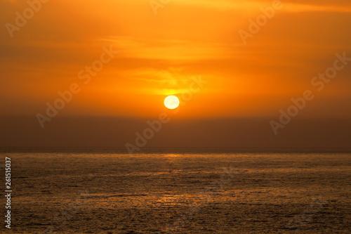 Beautiful Sea Orange Sunset Background.