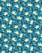 seamless vector flower summer blue pattern design. seamless template in swatch panel - 261539624
