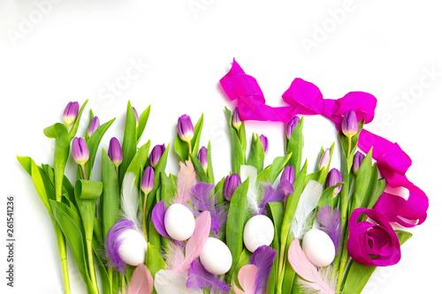canvas print picture lila Tulpen auf weißem hintergrund