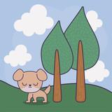 cute dog animal with landscape scene