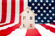 Quadro house on American flag background