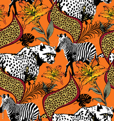 Pattern of zebra and leopard. Suitable for fabric, wrapping paper and the like. Vector illustration - 261563603