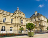 Exterior view of Luxembourg Palace in blue sky day in Paris, France