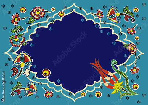 A sign or signboard with space for text with an Asian pattern of flowers © olga_kruglova