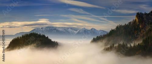 Tatra Mountains foggy view from Sokolica, Pieniny.