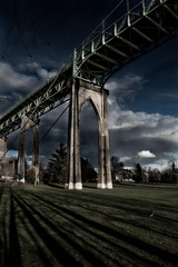 Gothic Bridge with Clouds