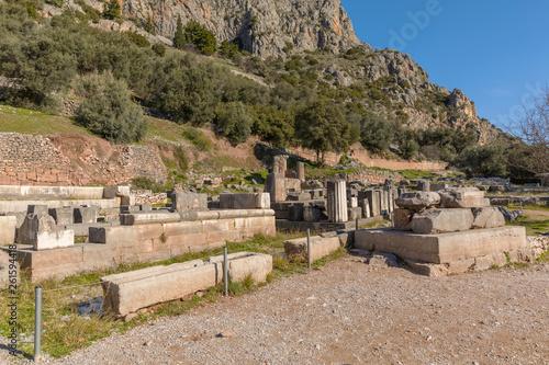 Ruins of Athena pronaia temple in Delphi, Greece