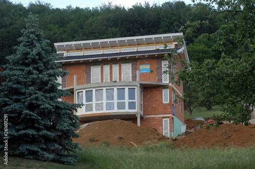 Leinwanddruck Bild rohbau eines einfamilienhauses