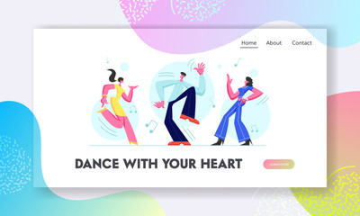 Young People Dancing on Disco Party. Man and Girls Spending Time Together Moving to Music Rhythm, Happy Leisure and Sparetime. Website Landing Page, Web Page. Cartoon Flat Vector Illustration, Banner