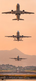 Airplane taking off. A big passenger or cargo aircraft, airline flying. Transportation.
