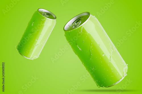 Leinwandbild Motiv Two green aluminum cans with water drops