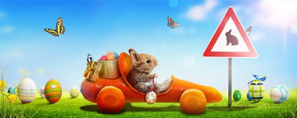 Osterhase unterwegs zum Osterfest!