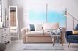 Leinwandbild Motiv Modern living room interior with comfortable sofa
