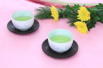 菊の花とお茶