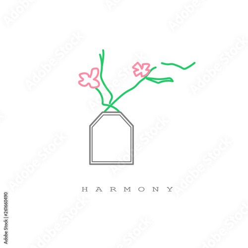Vase with flowers and cute spring inscription - Harmony. Great for cards, textiles, posters - 261660490