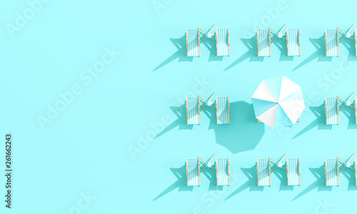 Top view beach umbrella with beach chairs on pastel blue background. summer vacation concept. 3d rendering © aanbetta