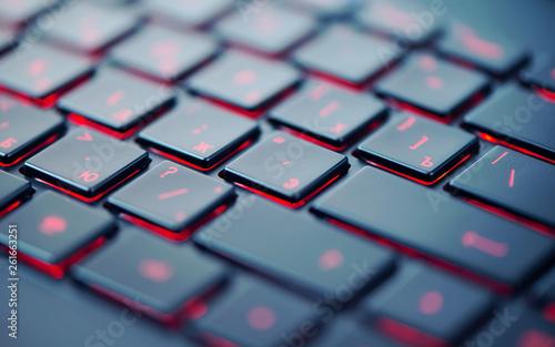 Modern red backlit keyboard, concept computer background