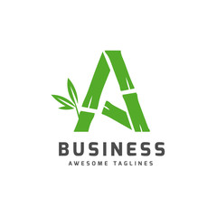 creative bamboo with initial letter a logo vector concept © krustovin