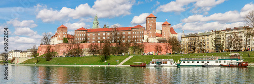 KRAKOW, POLAND - MARCH 19, 2016: Panoramic view of Wawel Royal Castle