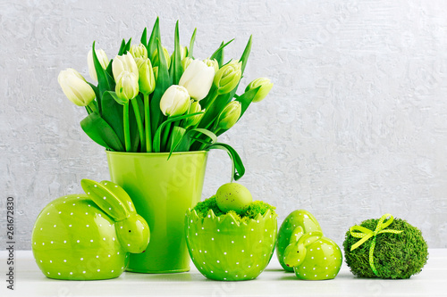 All green: tulips, Easter eggs and bunnies