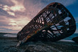 canvas print picture -  rusty shipwreck from the front and it almost falls apart