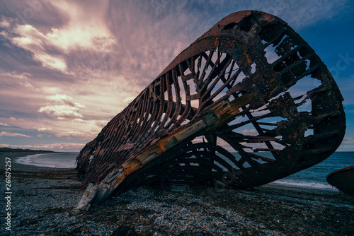 canvas print picture  rusty shipwreck from the front and it almost falls apart