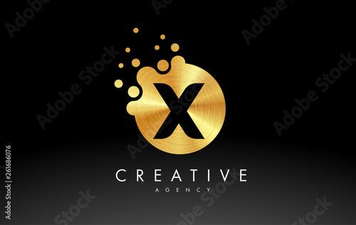 Golden Metal Letter X Logo. X Letter Design Vector