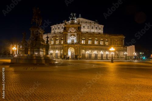 canvas print picture Dresden bei Nacht (Semperoper)