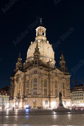 canvas print picture Frauenkirche Dresden bei Nacht