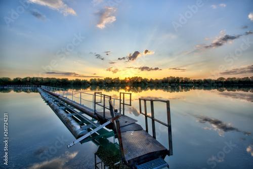 Acrylglas Pier Baggersee Sonnenuntergang