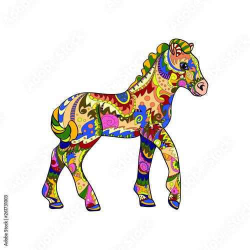 foal zentangle on white background