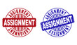 Grunge ASSIGNMENT round stamp seals isolated on a white background. Round seals with grunge texture in red and blue colors. Vector rubber imprint of ASSIGNMENT text inside circle form with stripes.