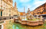 Piazza Navona square in Rome, Italy. Fontana del Moro (Moor Fountain). Rome architecture and landmark.