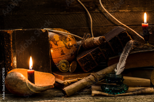 Composition on a theme marine adventures and trips. Objects under old times on a wooden background.