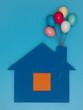 canvas print picture - Haus mit Luftballon.