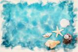 seashells on blue background - 261749667