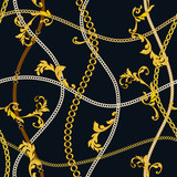 Chain seamless pattern. Baroque trend. Gold stripes. Vector illustration - 261763828