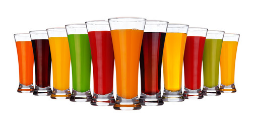 Fruit juice concept, glasses of different juices of fruits and vegetables isolated on white background