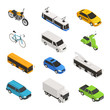 City Transport Isometric Icon Set